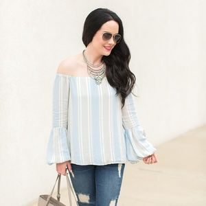 NWT WAYF 'Rushville' off-the-shoulder striped top